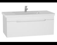 61019 - Folda Washbasin Unit, 100 cm, with vanity washbasin, White High Gloss