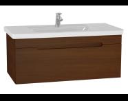 61021 - Folda Washbasin Unit, 100 cm, with vanity washbasin, Walnut