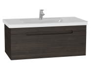 61022 - Folda Washbasin Unit, 100 cm, with vanity washbasin, Grey Oak Decor