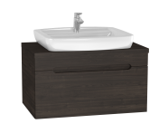 61026 - Folda Washbasin Unit, 80 cm, with countertop washbasin, Grey Oak Decor