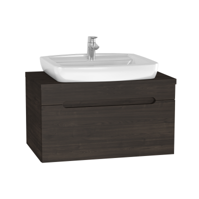 Folda Washbasin Unit, 80 cm, with countertop washbasin, Grey Oak Decor