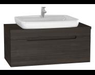 61030 - Folda Washbasin Unit, 100 cm, with countertop washbasin, Grey Oak Decor