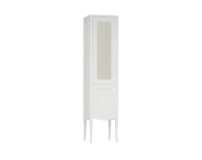 61079 - Elegance Tall Unit, 40 cm, with glass door, chrome handle, Matte White, left