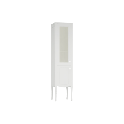 Elegance Tall Unit, 40 cm, with glass door, chrome handle, Matte White, left