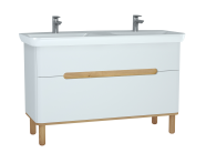 61184 - Sento Washbasin Unit, 130 cm, with 2 drawers, with double washbasins, with legs, Matte White