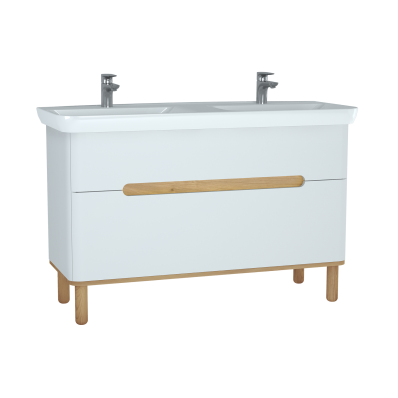 Sento Washbasin Unit, 130 cm, with 2 drawers, with double washbasins, with legs, Matte White