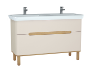 61185 - Sento Washbasin Unit, 130 cm, with 2 drawers, with double washbasins, with legs, Matte Cream