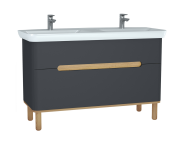 61186 - Sento Washbasin Unit, 130 cm, with 2 drawers, with double washbasins, with legs, Matte Anthracite