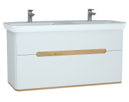 61187 - Sento Washbasin Unit, with 2 drawers, with double washbasin, 130 cm, Matte White