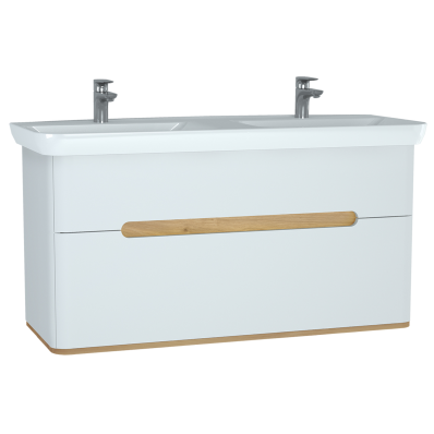 Sento Washbasin Unit, with 2 drawers, with double washbasin, 130 cm, Matte White