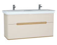 61188 - Sento Washbasin Unit, 130 cm, with 2 drawers, with double washbasins, without legs, Matte Cream