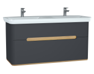 61189 - Sento Washbasin Unit, 130 cm, with 2 drawers, with double washbasins, without legs, Matte Anthracite