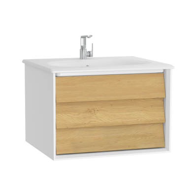 Frame Washbasin Unit, 60 cm, with 1 drawer, with White washbasin, Matte White