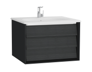 61217 - Frame Washbasin Unit, 60 cm, with 1 drawer, with White washbasin, Matte Black
