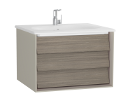 61218 - Frame Washbasin Unit, 60 cm, with 1 drawer, with White washbasin, Matte Taupe