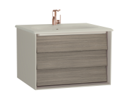 61219 - Frame Washbasin Unit, 60 cm, with 1 drawer, with Matte Taupe washbasin, Matte Taupe