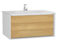 61220 - Frame Washbasin Unit, 80 cm, with 1 drawer, with White washbasin, Matte White
