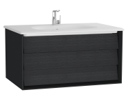 61221 - Frame Washbasin Unit, 80 cm, with 1 drawer, with White washbasin, Matte Black