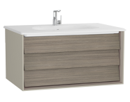61222 - Frame Washbasin Unit, 80 cm, with 1 drawer, with White washbasin, Matte Taupe