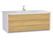 61224 - Frame Washbasin Unit, 100 cm, with 1 drawer, with White washbasin, Matte White