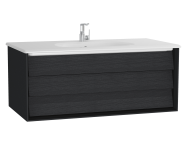 61225 - Frame Washbasin Unit, 100 cm, with 1 drawer, with White washbasin, Matte Black