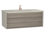 61226 - Frame Washbasin Unit, 100 cm, with 1 drawer, with White washbasin, Matte Taupe