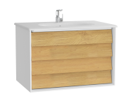 61228 - Frame Washbasin Unit, 80 cm, with 2 drawers, with White washbasin, Matte White