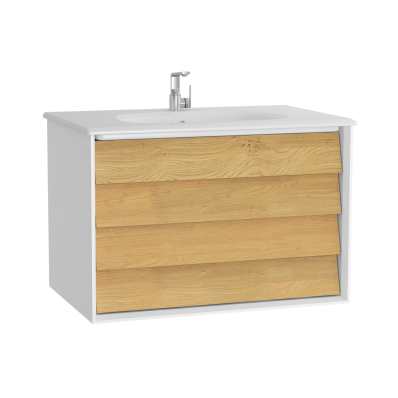 Frame Washbasin Unit, 80 cm, with 2 drawers, with White washbasin, Matte White