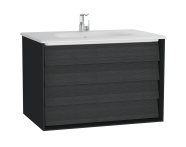 61229 - Frame Washbasin Unit, 80 cm, with 2 drawers, with White washbasin, Matte Black