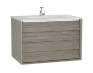 61230 - Frame Washbasin Unit, 80 cm, with 2 drawers, with White washbasin, Matte Taupe