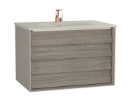 61231 - Frame Washbasin Unit, 80 cm, with 2 drawers, with Matte Taupe washbasin, Matte Taupe