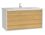 61232 - Frame Washbasin Unit, 100 cm, with 2 drawers, with White washbasin, Matte White
