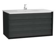 61233 - Frame Washbasin Unit, 100 cm, with 2 drawers, with White washbasin, Matte Black