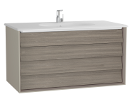 61234 - Frame Washbasin Unit, 100 cm, with 2 drawers, with White washbasin, Matte Taupe