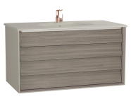 61235 - Frame Washbasin Unit, 100 cm, with 2 drawers, with Matte Taupe washbasin, Matte Taupe