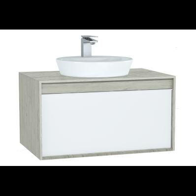 Metropole Washbasin Unit, 80 cm, with 1 drawer, Silver Oak