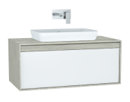 61282 - Metropole Washbasin Unit, 100 cm, with 1 drawer, Silver Oak