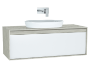 61283 - Metropole Washbasin Unit, 120 cm, with 1 drawer, Silver Oak