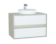 61284 - Metropole Washbasin Unit, 80 cm, with 2 drawers, Silver Oak