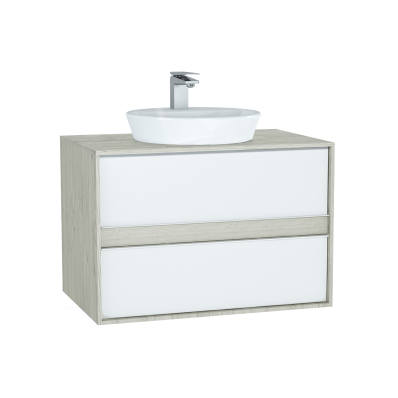 Metropole Washbasin Unit, 80 cm, with 2 drawers, Silver Oak