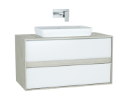 61285 - Metropole Washbasin Unit, 100 cm, with 2 drawers, Silver Oak