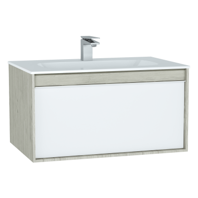 M-Line Infinit Washbasin Unit, 80 cm, with 1 drawer, with infinit washbasin, Silver Oak
