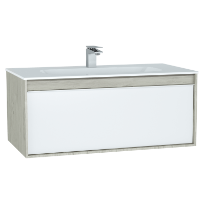 M-Line Infinit Washbasin Unit, 100 cm, with 1 drawer, with infinit washbasin, Silver Oak