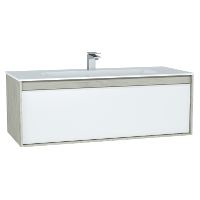 M-Line Infinit Washbasin Unit, 120 cm, with 1 drawer, with infinit washbasin, Silver Oak