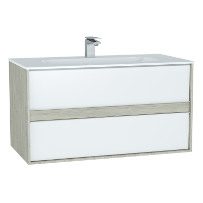 M-Line Infinit Washbasin Unit, 100 cm, with 2 drawers, with infinit washbasin, Silver Oak