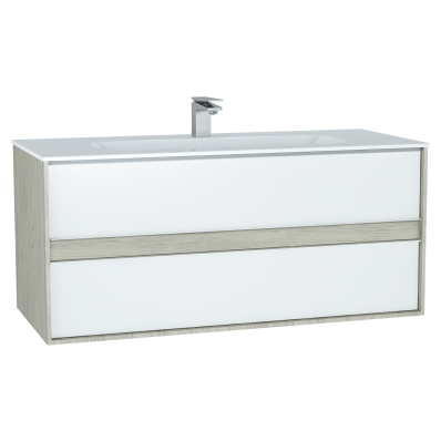 M-Line Infinit Washbasin Unit, 120 cm, with 2 drawers, with infinit washbasin, Silver Oak
