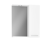61444 - S20 Mirror with Side Cabinet, 60 cm, White High Gloss