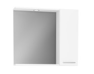 61446 - S20 Mirror with Side Cabinet, 80 cm, White High Gloss