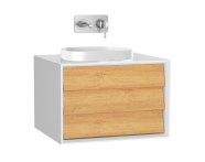 61451 - Frame Washbasin Unit, 60 cm, with 1 drawer, with countertop square washbasin, Matte White