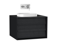61452 - Frame Washbasin Unit, 60 cm, with 1 drawer, with countertop square washbasin, Matte Black
